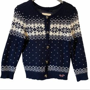 Hollister navy blue fair isle cardigan sweater M